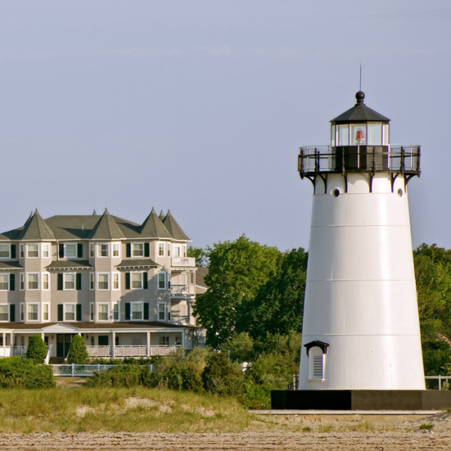 Lighthouse in front of the hotel