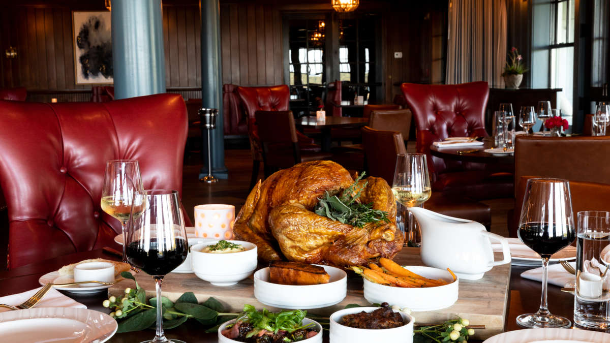 Thanksgiving dinner on the table at Harbor View Hotel