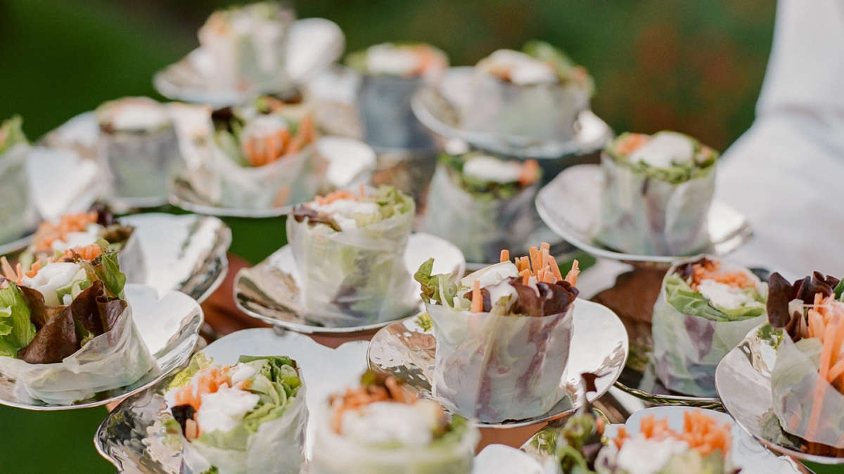 Spring roll appetizers on a tray