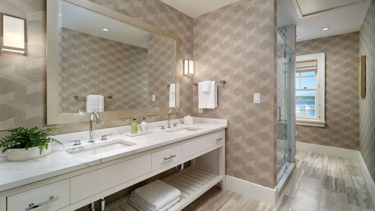Renovated modern bathroom with two sinks