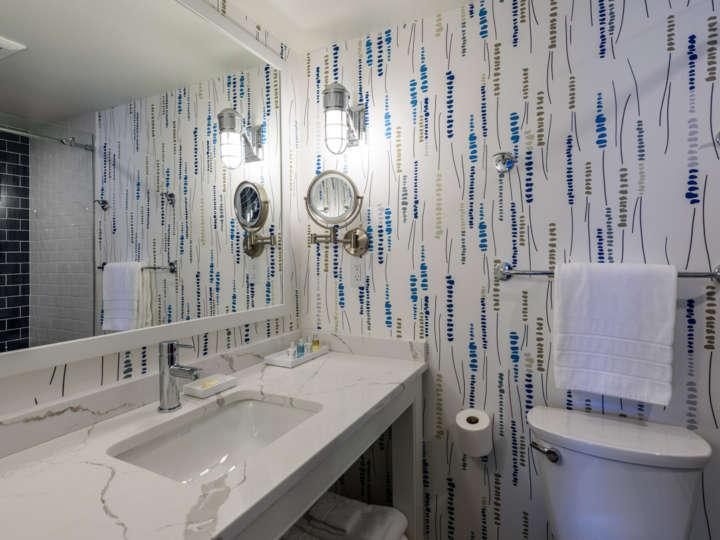 Beautiful bathroom with modern wallpaper