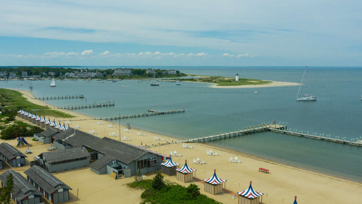 Birds eye view of piers
