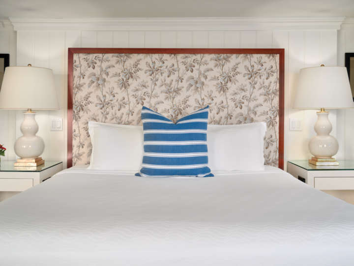 Upholstered headboard on luxe bed