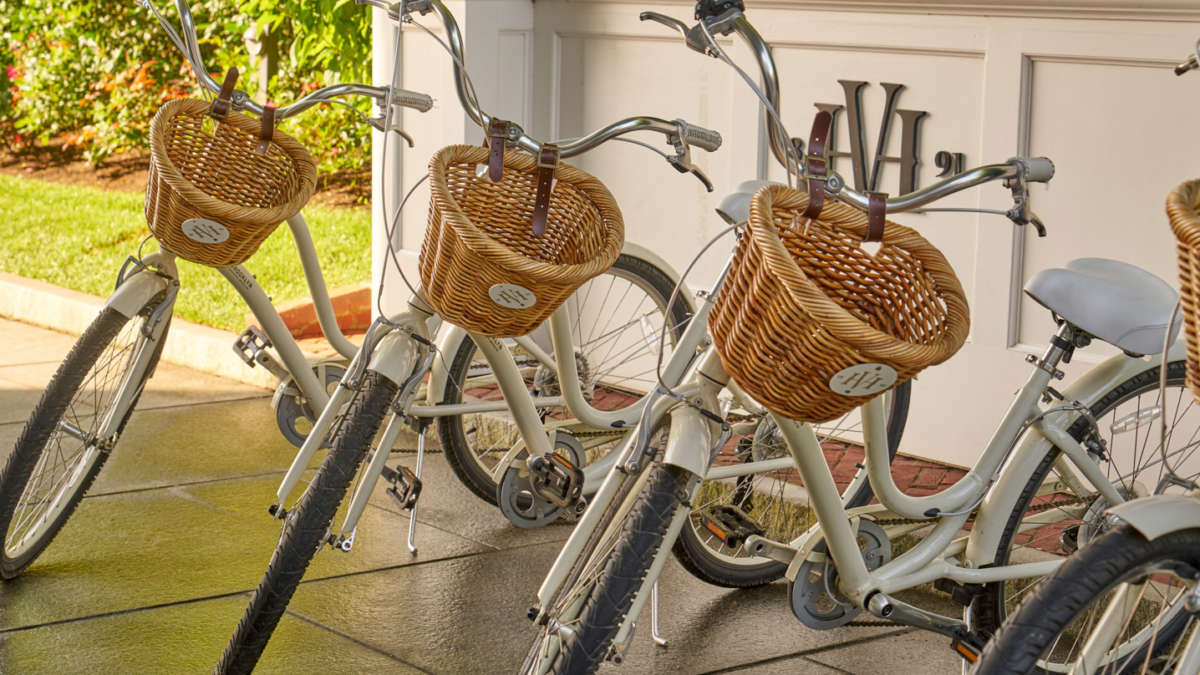 Bicycles for use with wicker baskets