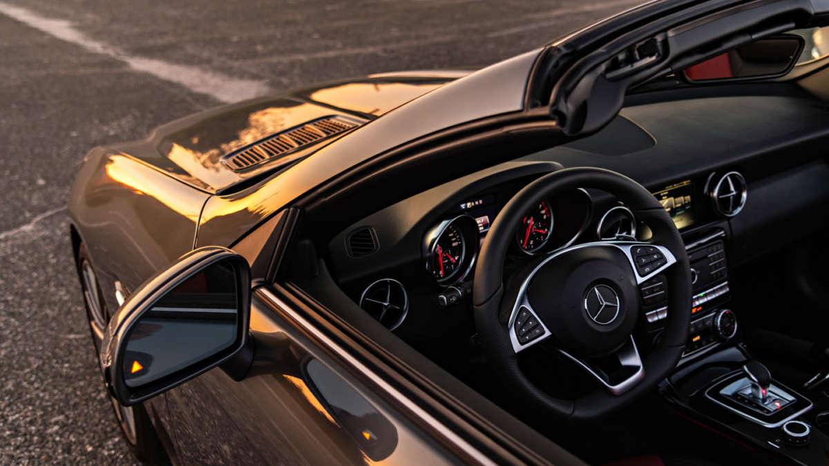 Black convertible Mercedes
