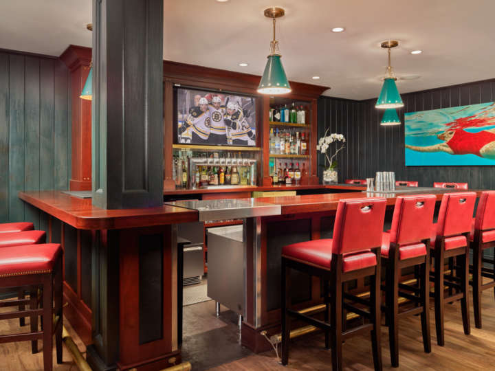 Clubhouse bar with stools