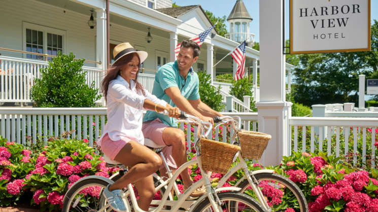 Couple riding HVH bicycles