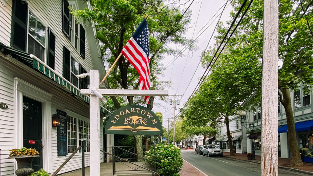 Edgartown sign with American flag