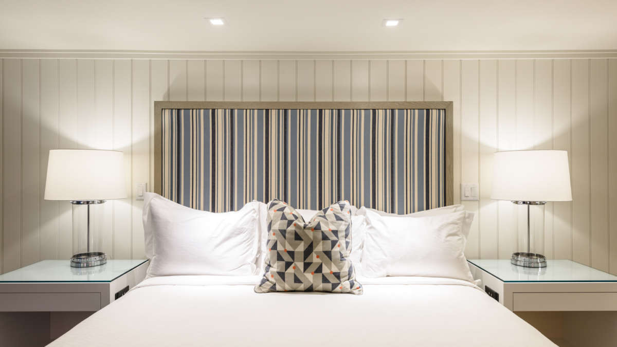 Queen bed with modern upholstered headboard