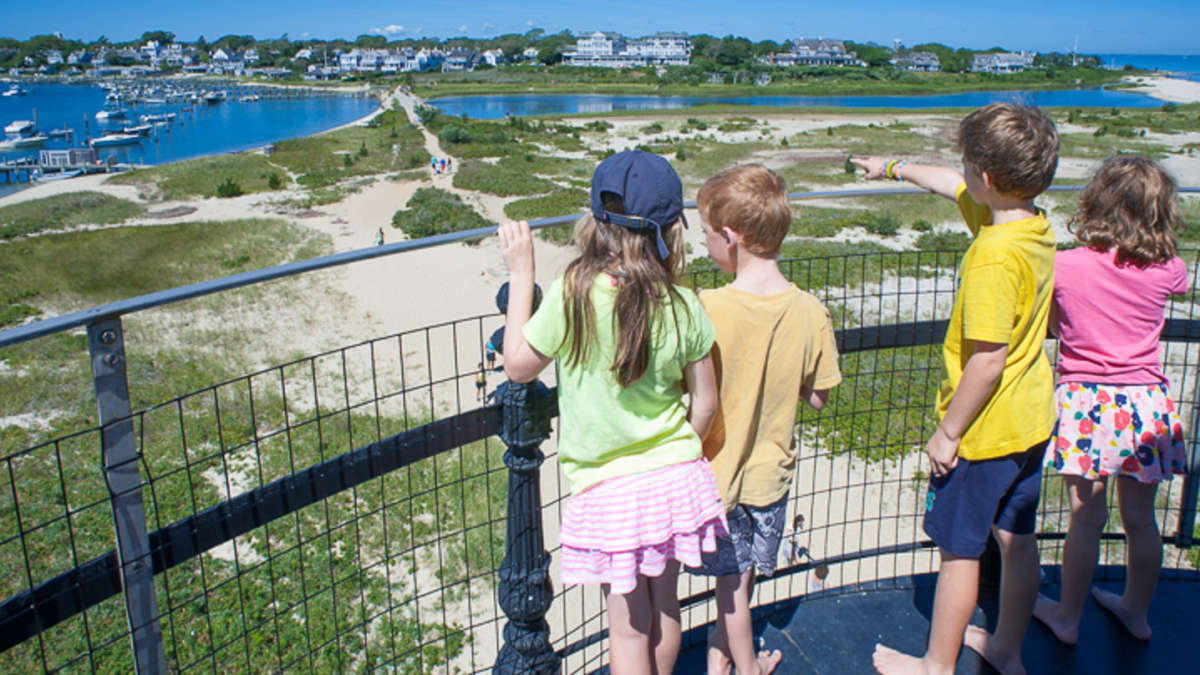 Kids standing on the lighthouse lookout