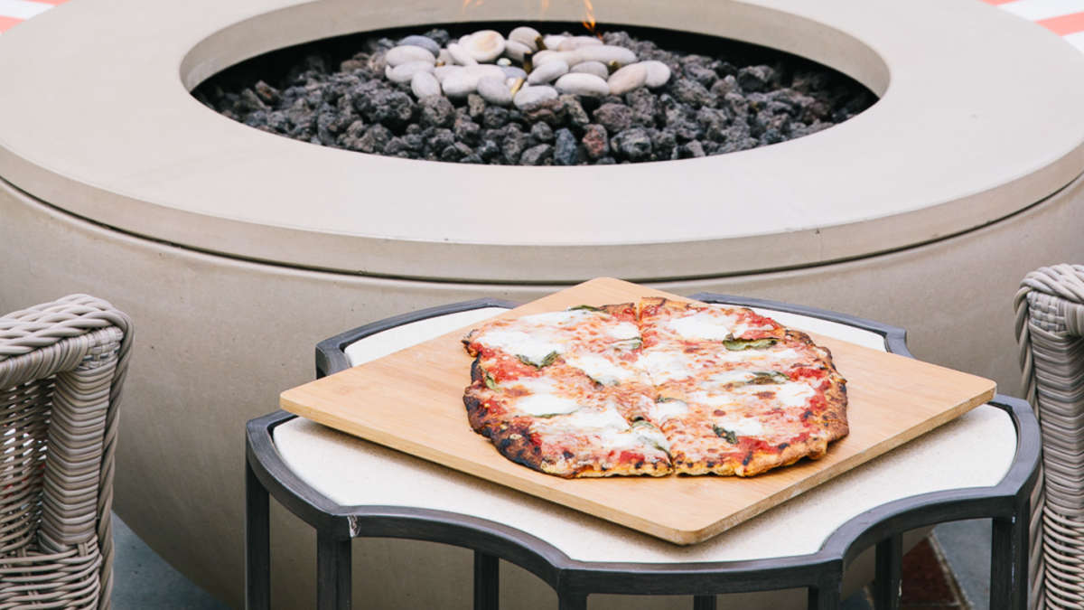 Pizza next to the fire pit