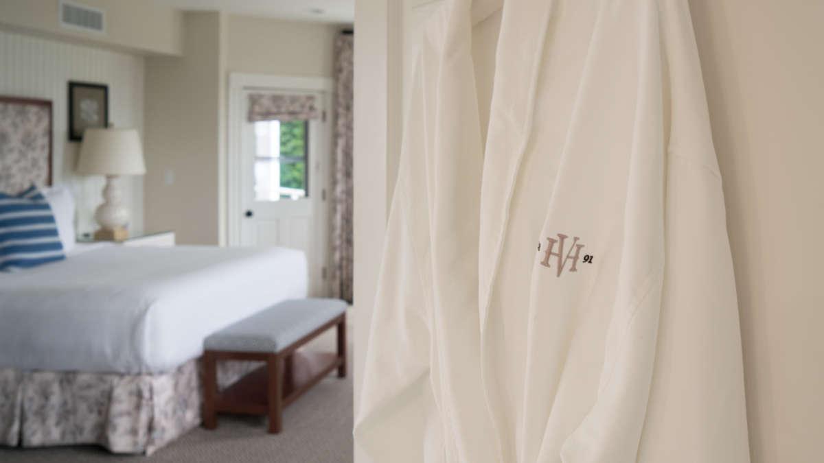 HVH robe hanging on a door
