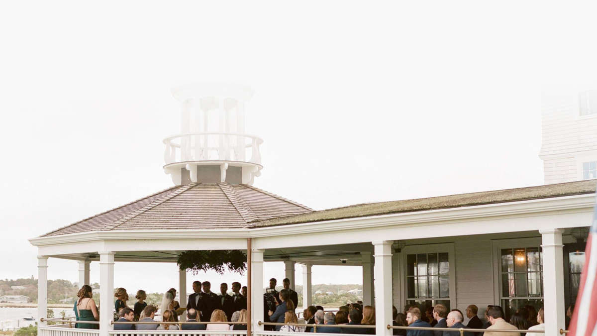 Wedding ceremony on the veranda overlooking the harbor
