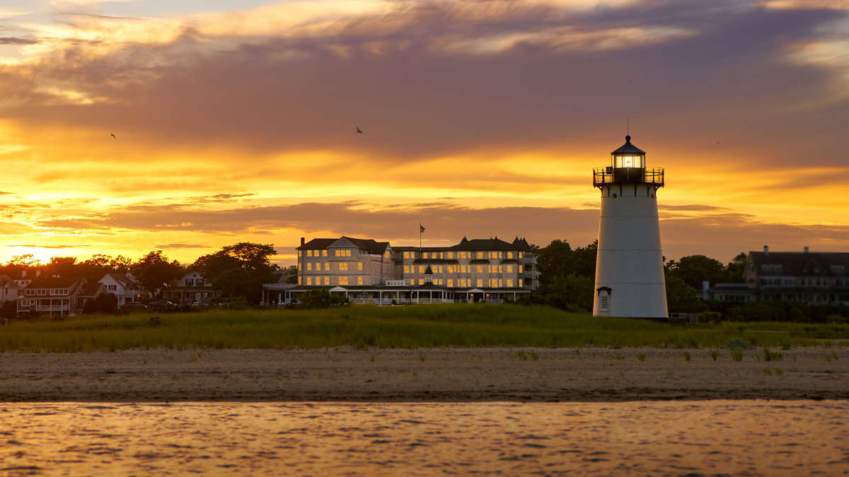 Harbor View Hotel and lighthouse at sunet