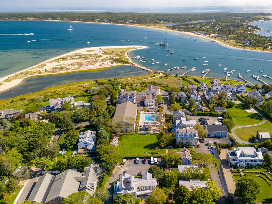 The harbor and beach from a birds eye view