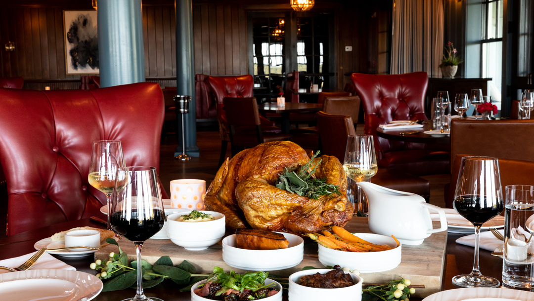 Thanksgiving dinner on a table at Betinni