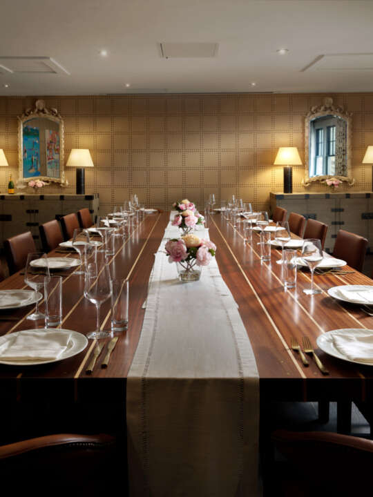 Private dining room with long dining table