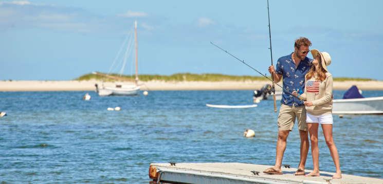 Couple fishing on the dock