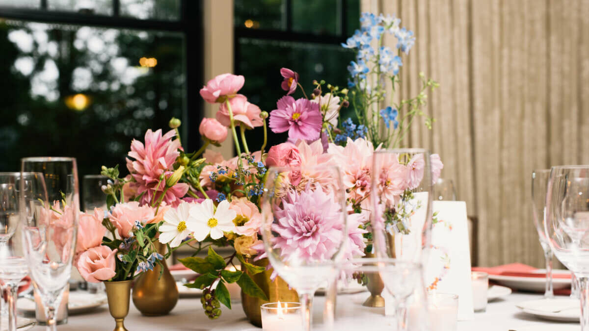 pink flowers on a table