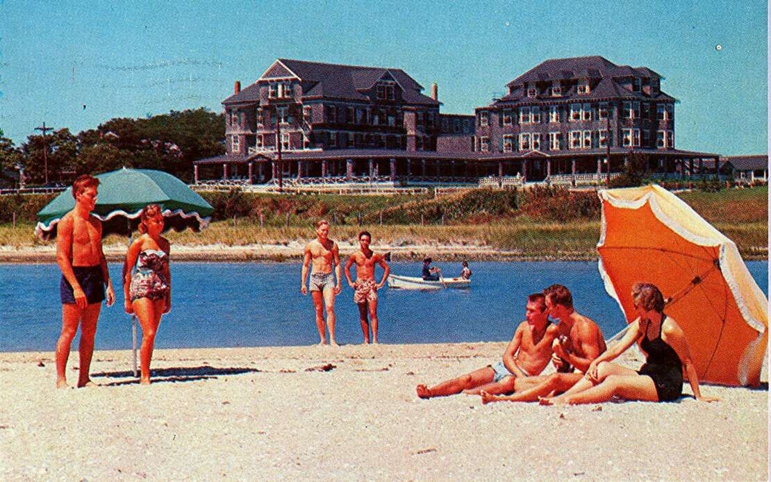 vintage photo of people on a beach